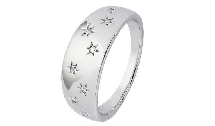 Revere Sterling Silver 0.05ct tw Diamond Star Band Ring - J