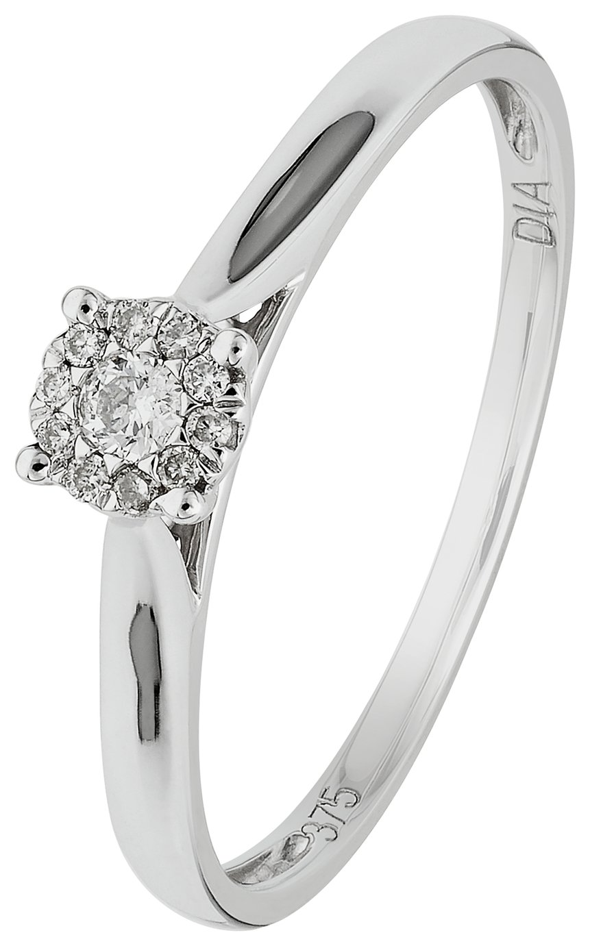 Revere 9ct White Gold Diamond Accent Halo Cluster Ring - N
