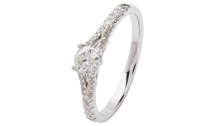 Revere 9ct White Gold 0.50cttw Diamond Shoulder Set Ring - H