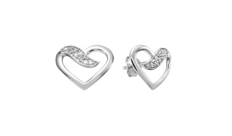 Revere Sterling Silver 0.02ct tw Diamond Open heart Studs