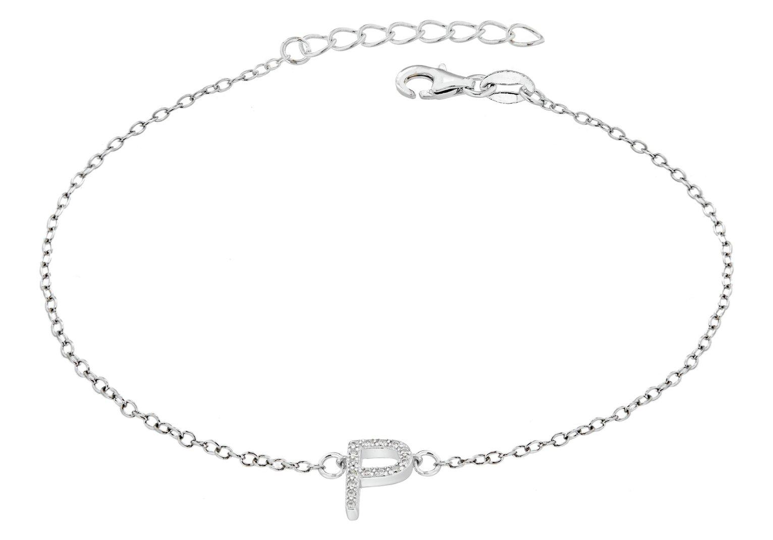 Sterling Silver Cubic Zirconia Initial Bracelet - P