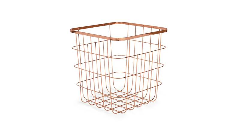 Habitat Flat Wire Squares Storage Basket - Rose Gold