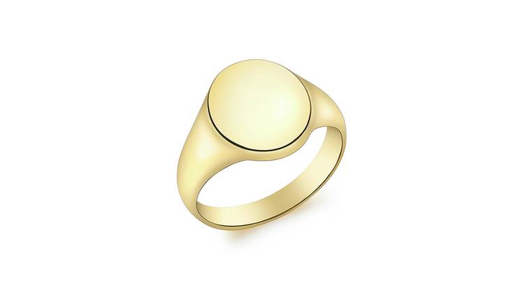 9ct Gold Personalised Oval Signet Ring - L