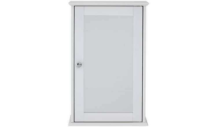 Premier Housewares Portland Wooden Mirrored Cabinet - White.