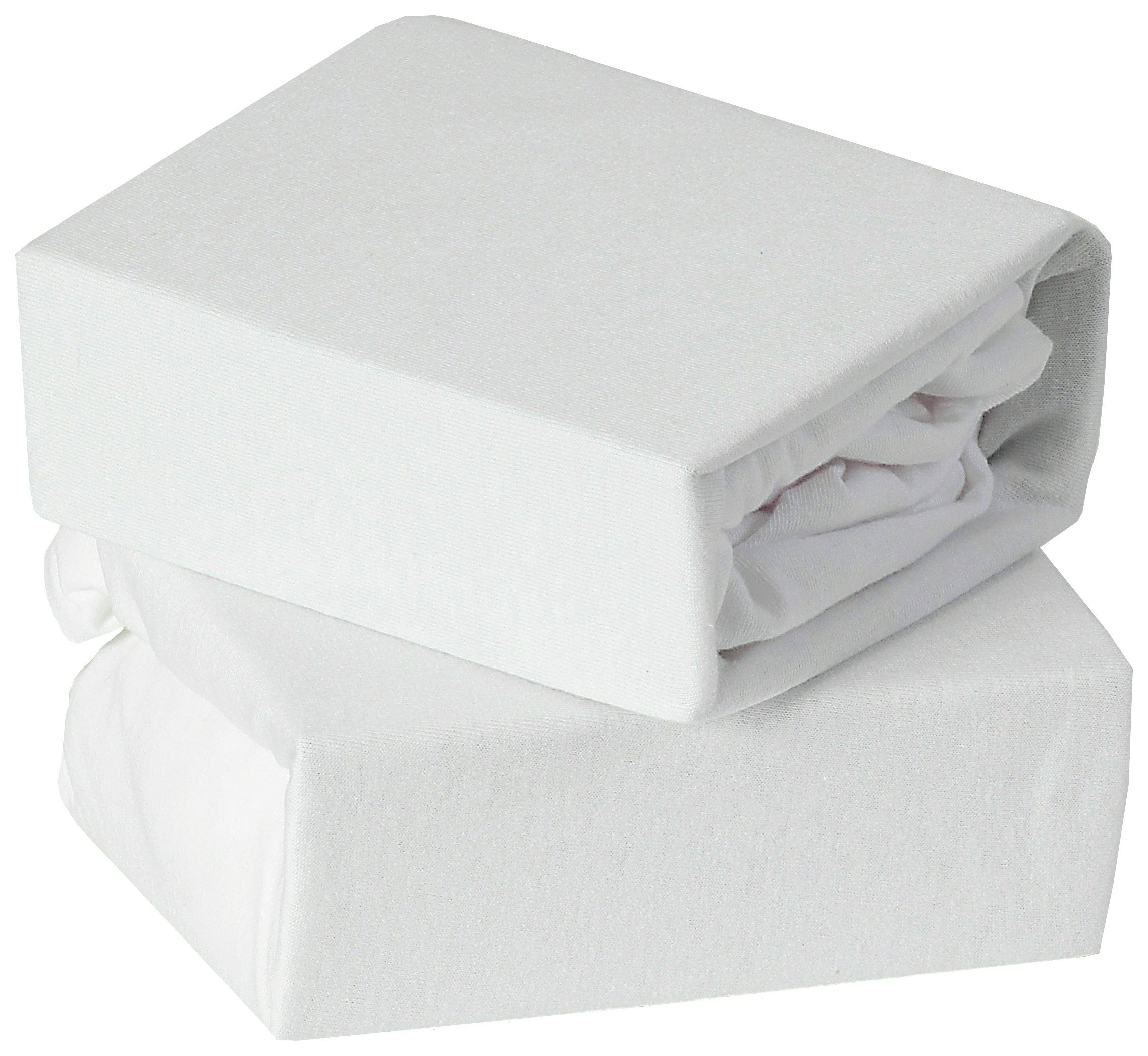 Image of Baby Elegance 2 Pack Fitted Cot Bed Sheets - White.