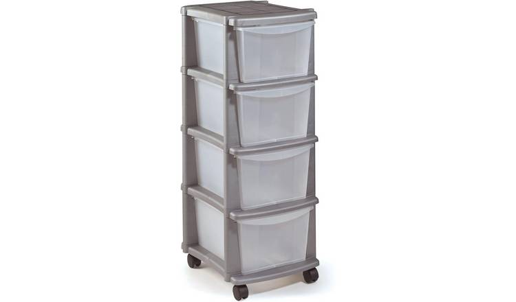 Argos Home 4 Drawer Plastic Tower Storage Unit - Silver