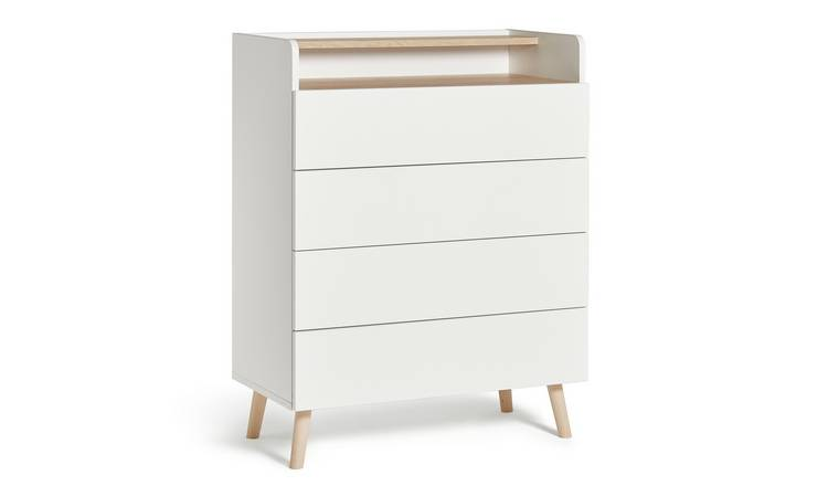 Habitat Skandi 4 Drawer Chest with Shelf - White Two Tone