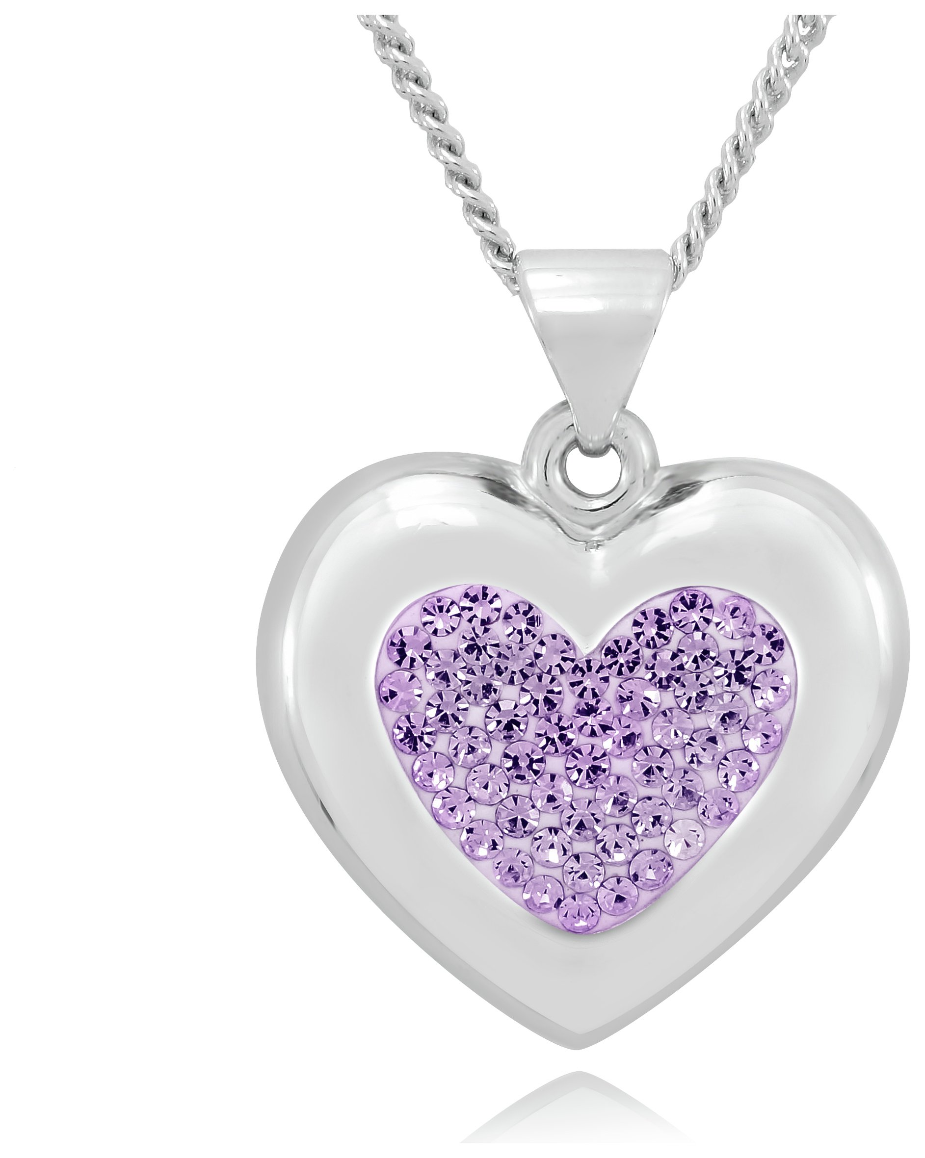 Sterling Silver - and Purple Glass Crystal Heart Pendant.