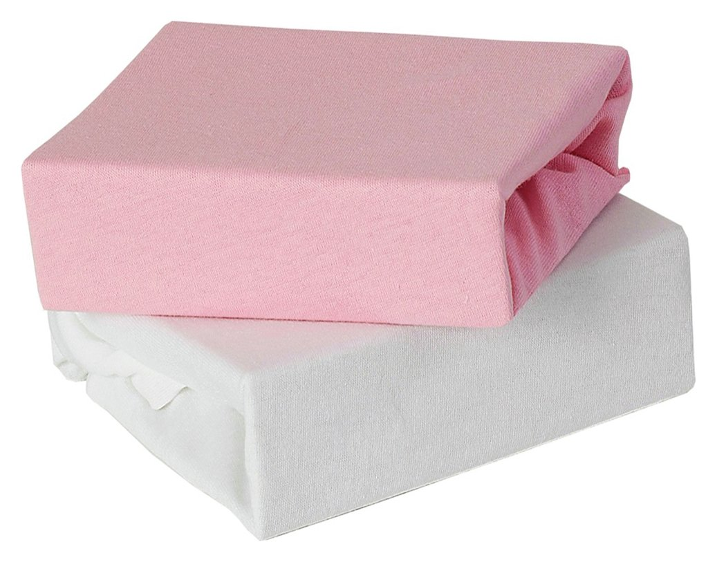 Image of Baby Elegance 2 Pack Fitted Cot Bed Sheets - Pink.