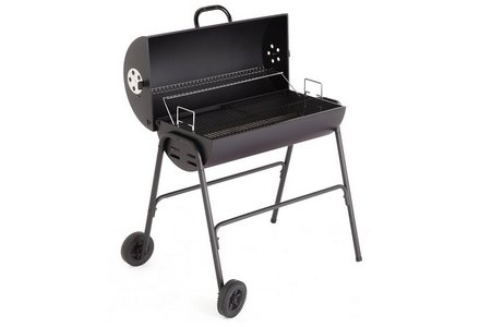 Image of a Charcoal Oil Drum BBQ - Cover, Utensils & Adjustable Grill.