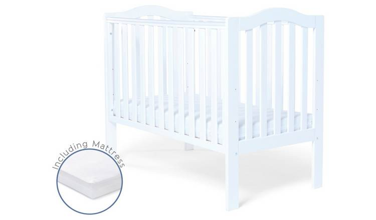 Baby Elegance Sarah Baby Cot with Mattress - White