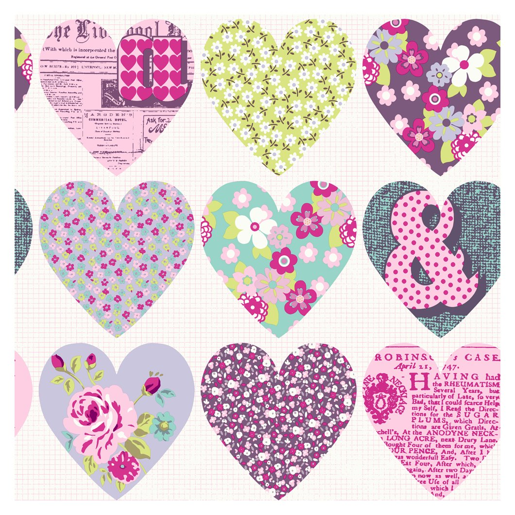 arthouse imagine fun patchwork heart purple wallpaper.
