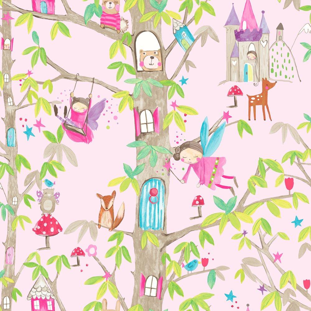 Image of Arthouse Imagine Fun Woodland Fairies Pink Wallpaper.