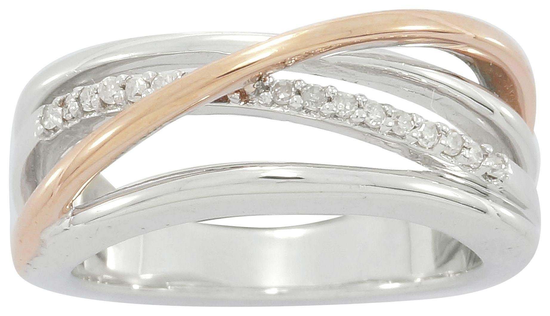 Image of Silver & 9 Carat Rose Gold Plated Silver Diamond - Accent Ring - N