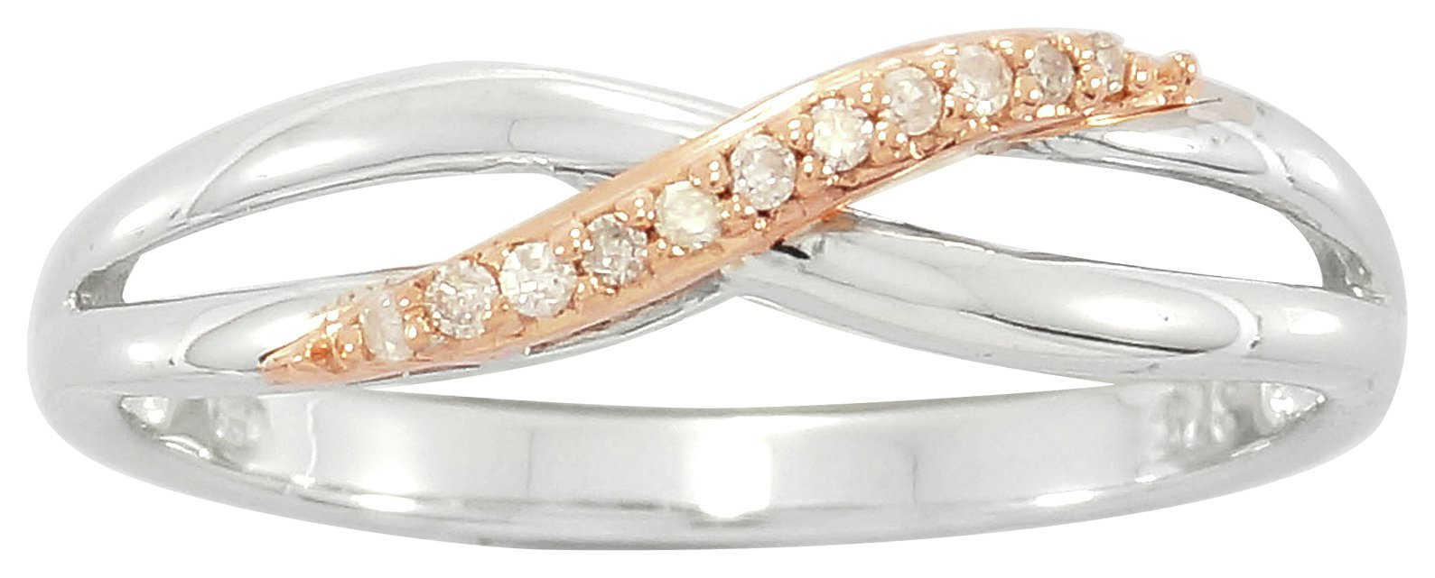 Buy Silver & Rose Gold Plated Diamond Crossover Ring Small at