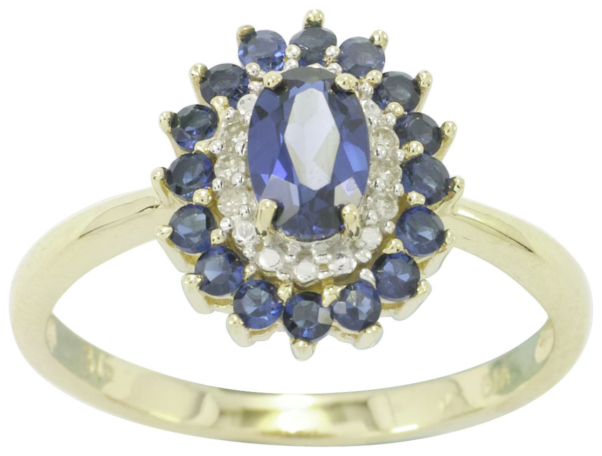 Buy 9ct Yellow Gold Sapphire & Diamond Cluster Ring Size K at