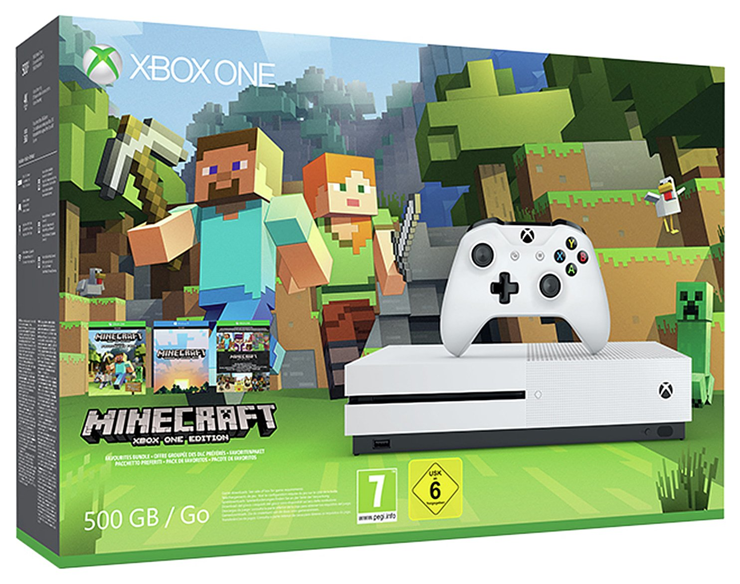 Image of Xbox Console - One S - 500GB- Minecraft Favourites Bundle.