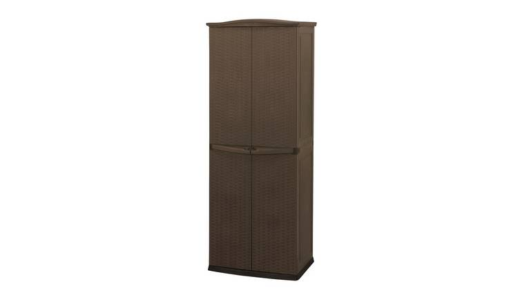 Keter 627L Rattan Effect Garden Utility Cupboard - Brown