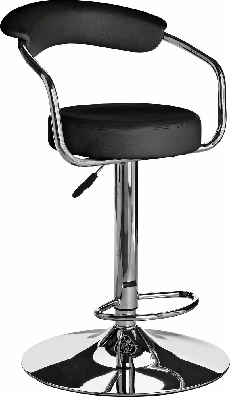 Image of Collection Executive Gas Lift Bar Stool w/ Back Rest - Black