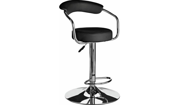 dfddeaec48f Buy Argos Home Executive Gas Lift Bar Stool w  Back Rest - Black ...