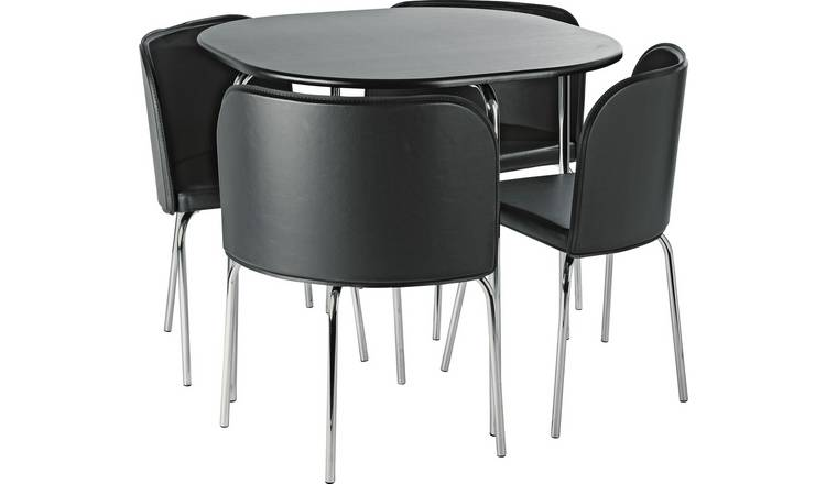Buy Argos Home Amparo Black Dining Table Amp 4 Black Chairs