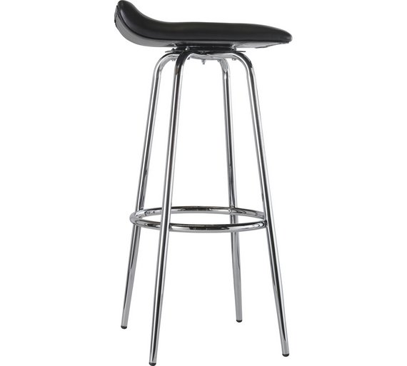 Buy Home Pair Of Black And Chrome Swivel Head Bar Stools