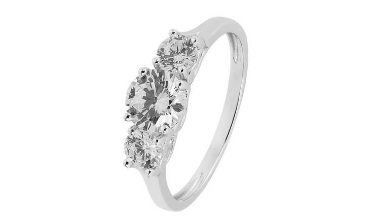 Revere 9ct White Gold Round Cubic Zirconia 3 Stone Ring - R