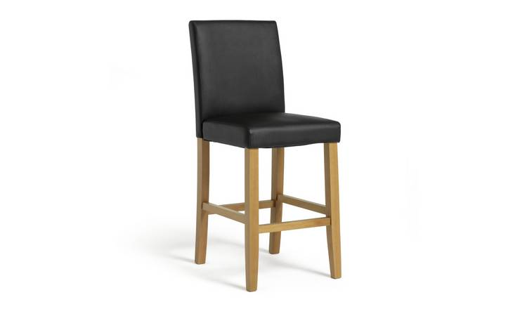 Argos Home Winslow Wood & Faux Leather Bar Stool - Black