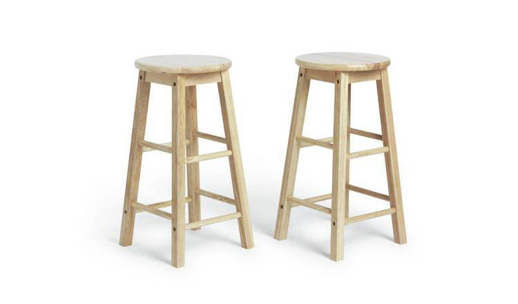 Habitat Pair of Solid Wood Kitchen Stools