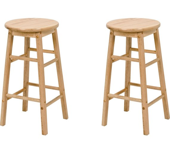 Buy Simple Value Pair of Solid Wood Kitchen Stools | Bar stools and ...