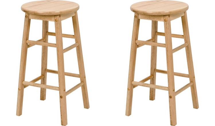 Argos Home Pair of Solid Wood Kitchen Stools