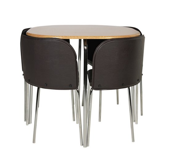buy hygena amparo oak effect dining table 4 chairs. Black Bedroom Furniture Sets. Home Design Ideas