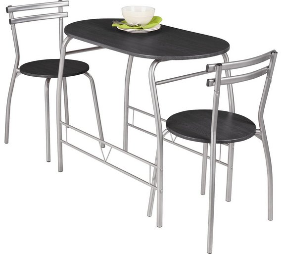 Buy home vegas dining table and 2 chairs black at argos for Small black dining table and chairs