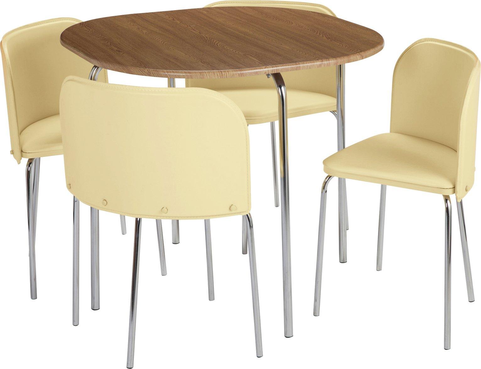 Argos Home Amparo Oak Effect Dining Table & 4 Cream Chairs