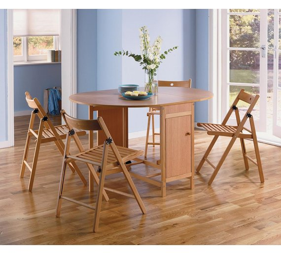Buy HOME Butterfly Extendable Oval Table 4 Chairs