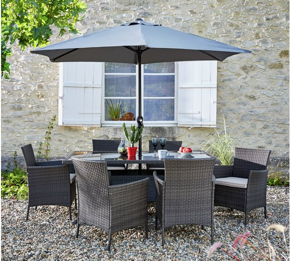 buy collection fiji 6 seater rattan patio set grey at argoscouk your online shop for garden table and chair sets garden furniture home and garden
