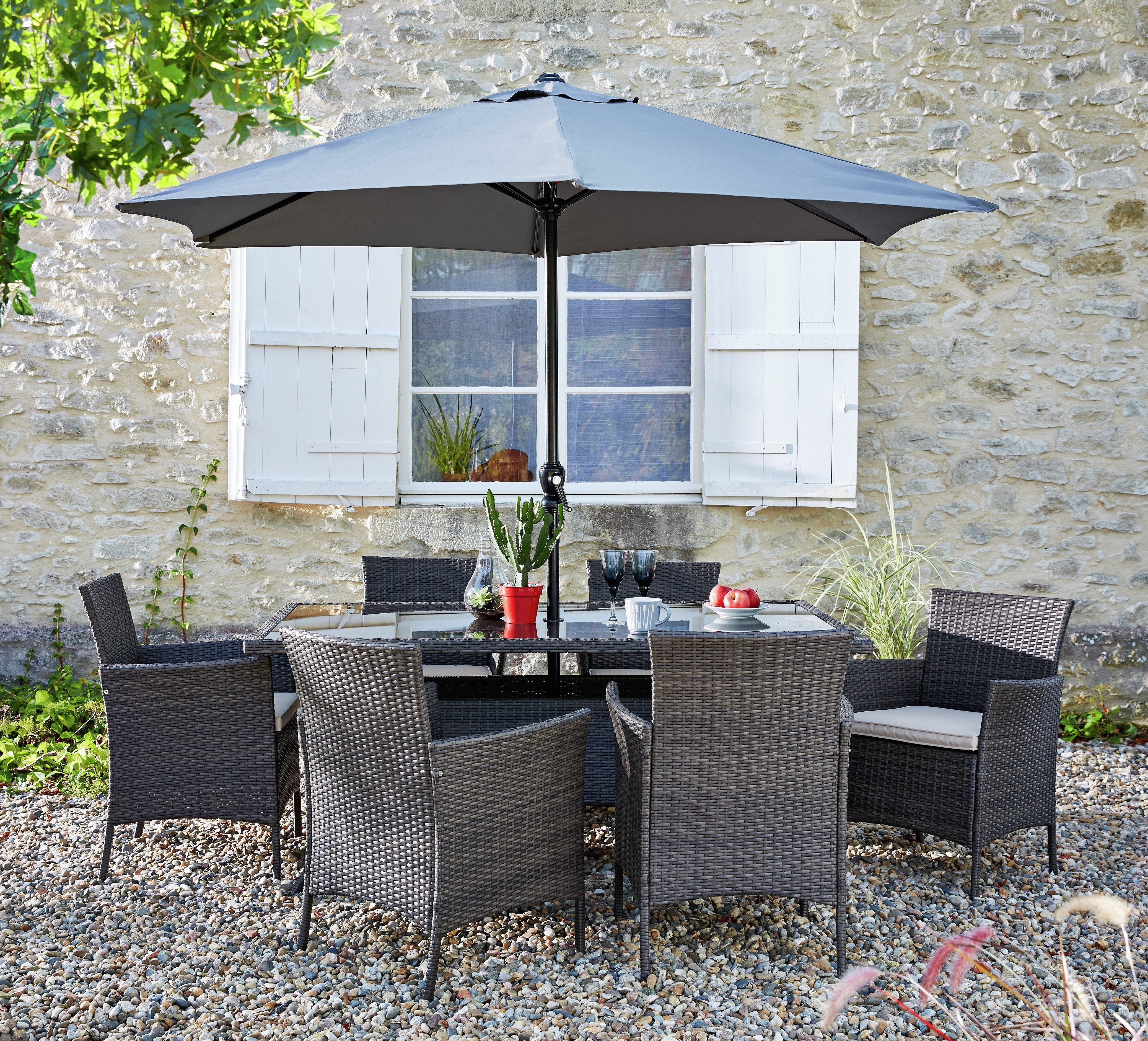 Buy Collection Fiji 6 Seater Rattan Patio Set   Grey At Argos.co.uk   Your  Online Shop For Garden Table And Chair Sets, Garden Furniture, Home And  Garden.