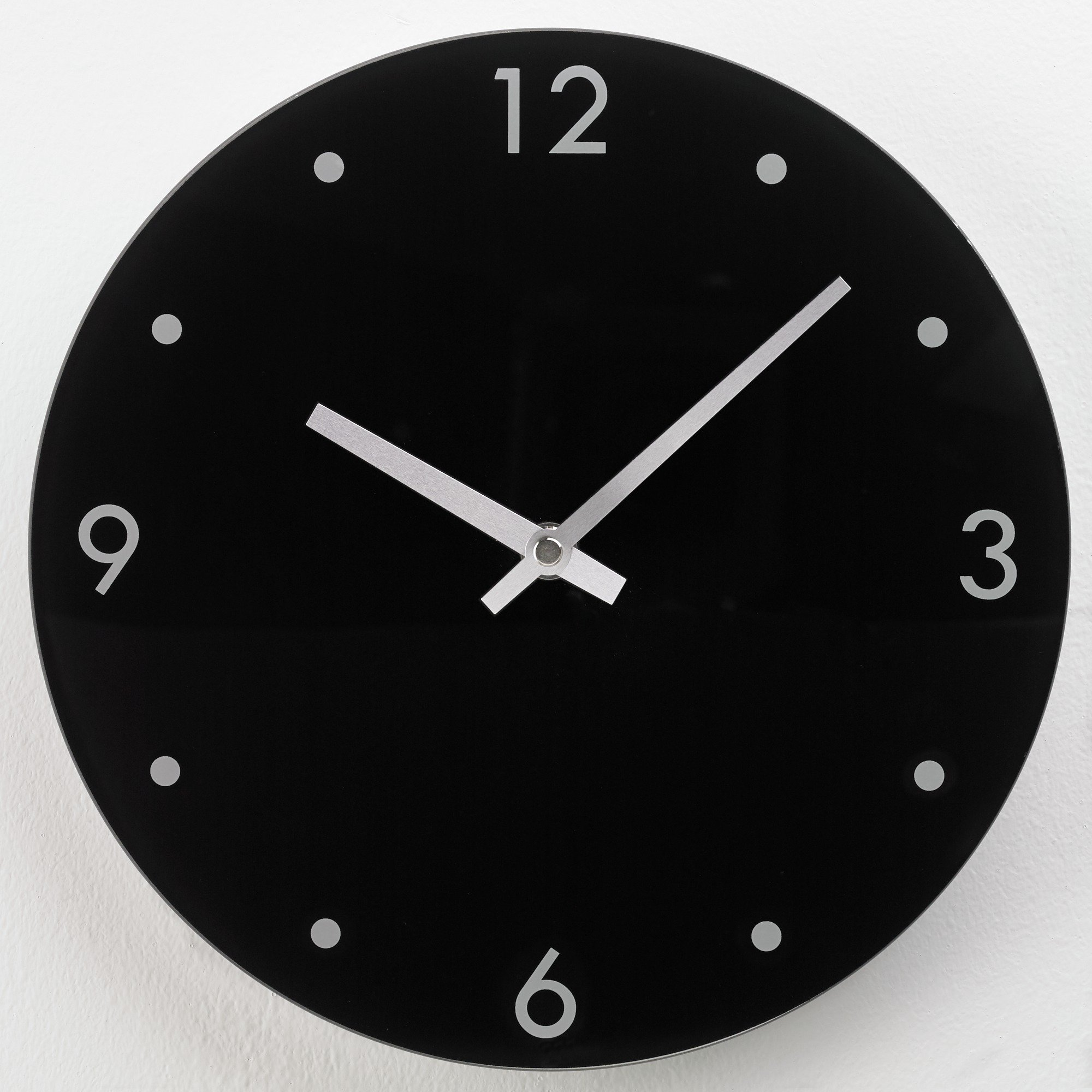 Home round glass wall clock for Black glass wall clock