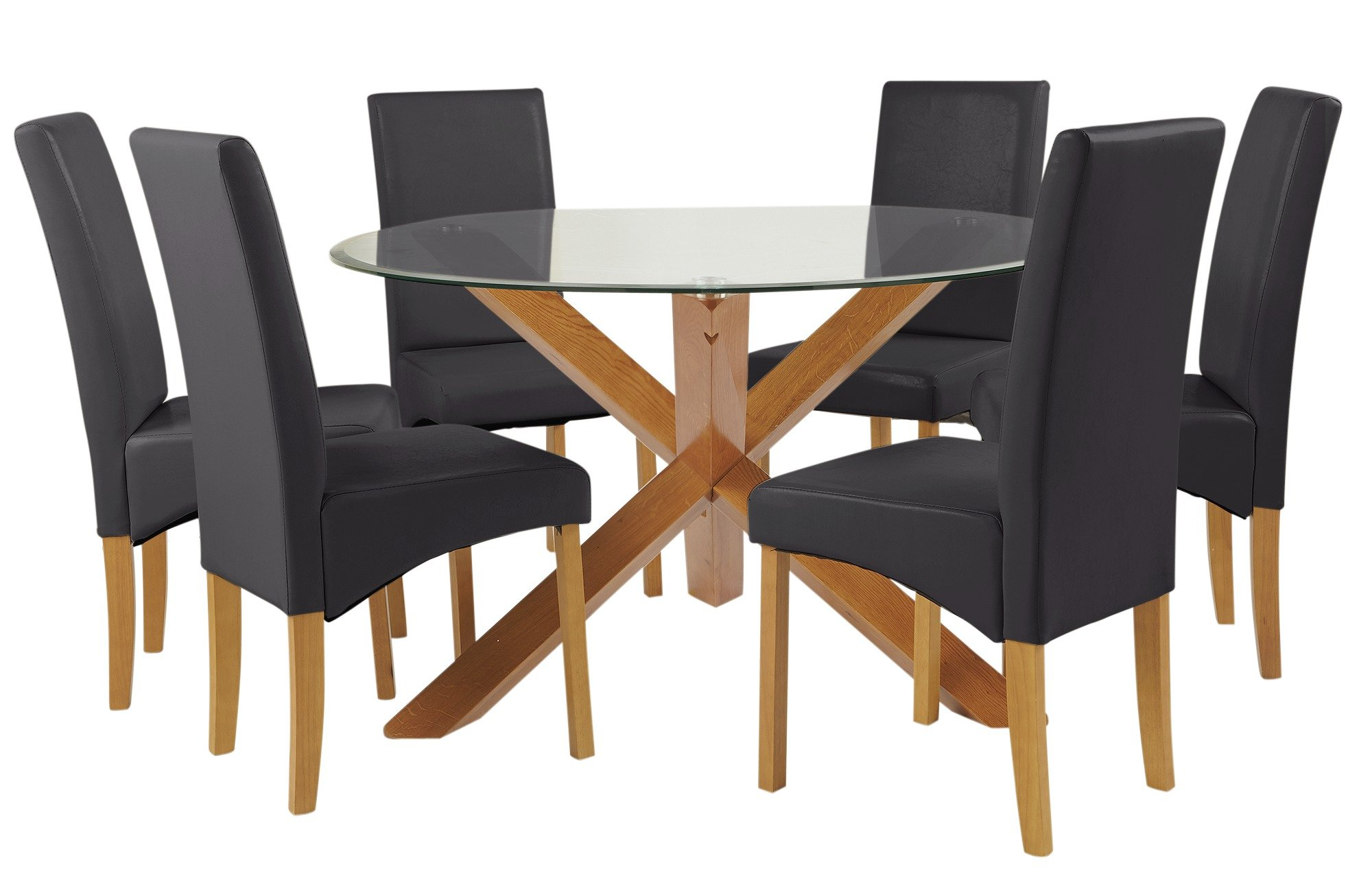 Image of Heart of House Oakington Round Glass Table & 6Chairs - Black