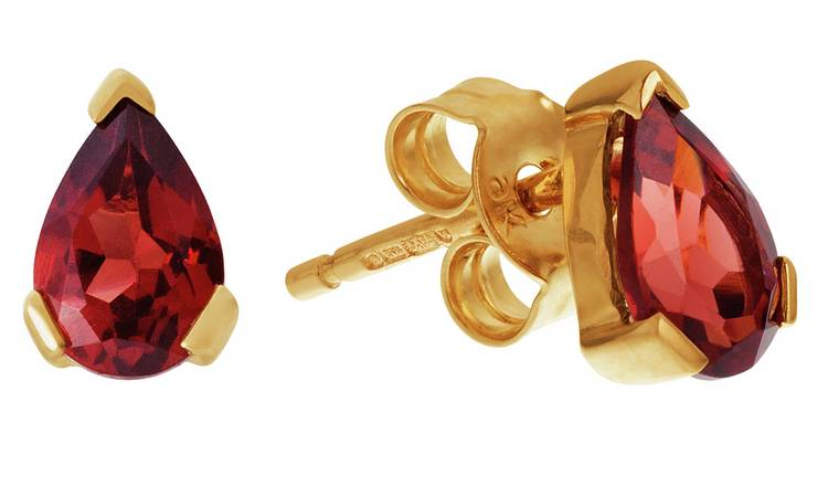 Revere 9ct Yellow Gold Pear Garnet Stud Earrings