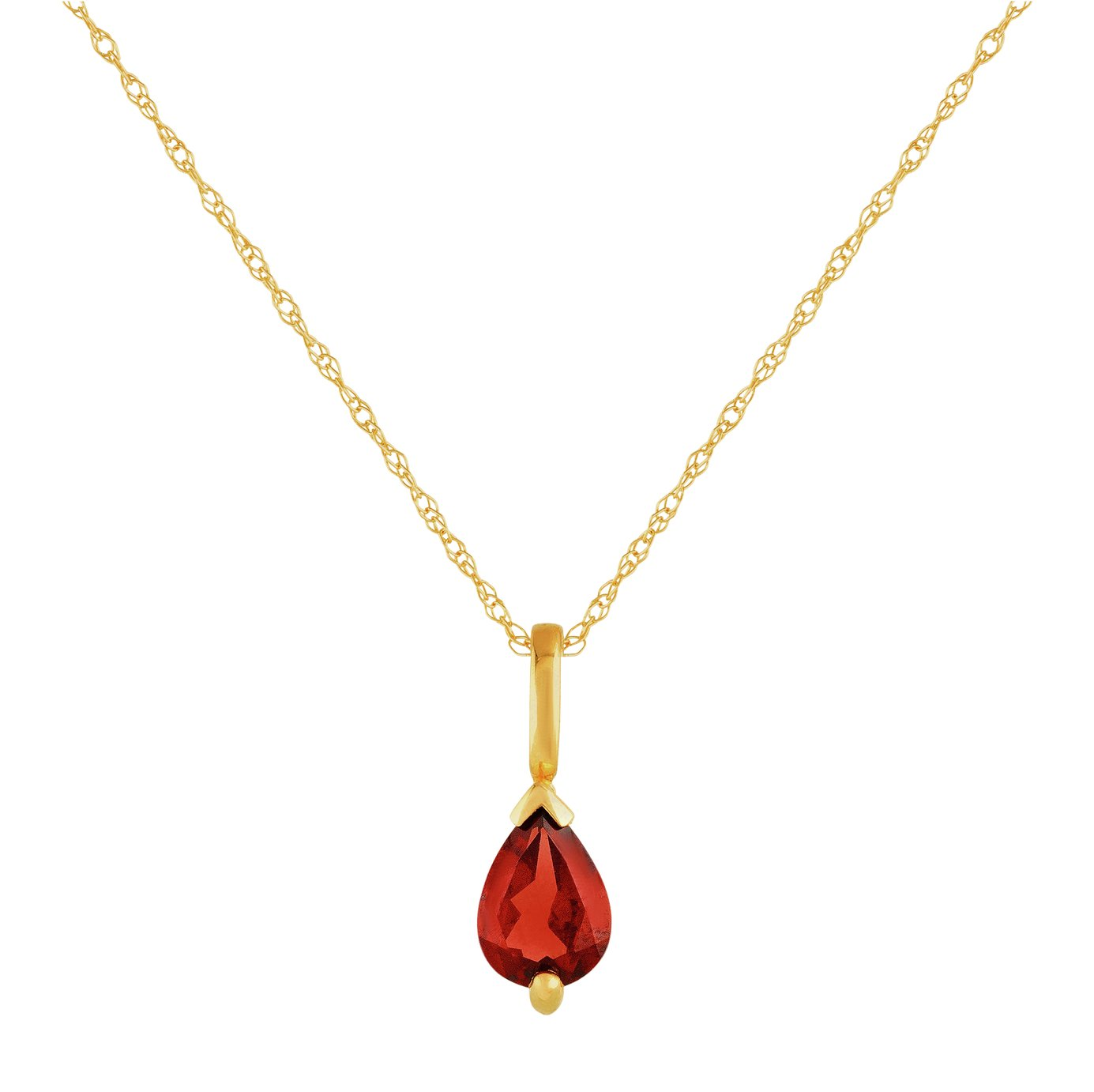 Revere 9ct Gold Pear Garnet Pendant Necklace