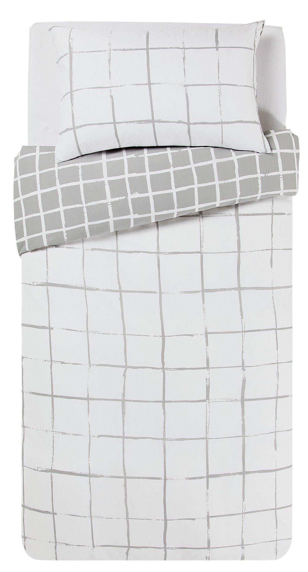 home grey grid bedding set  single