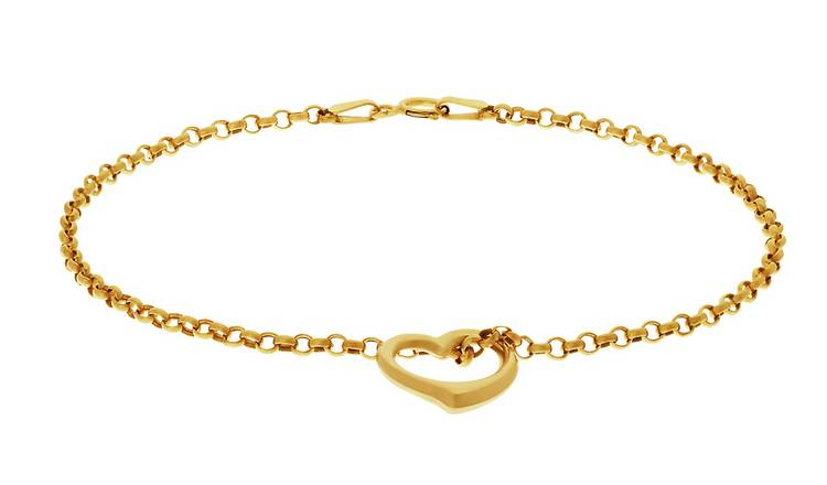 Revere 9ct Yellow Gold Floating Heart Bracelet