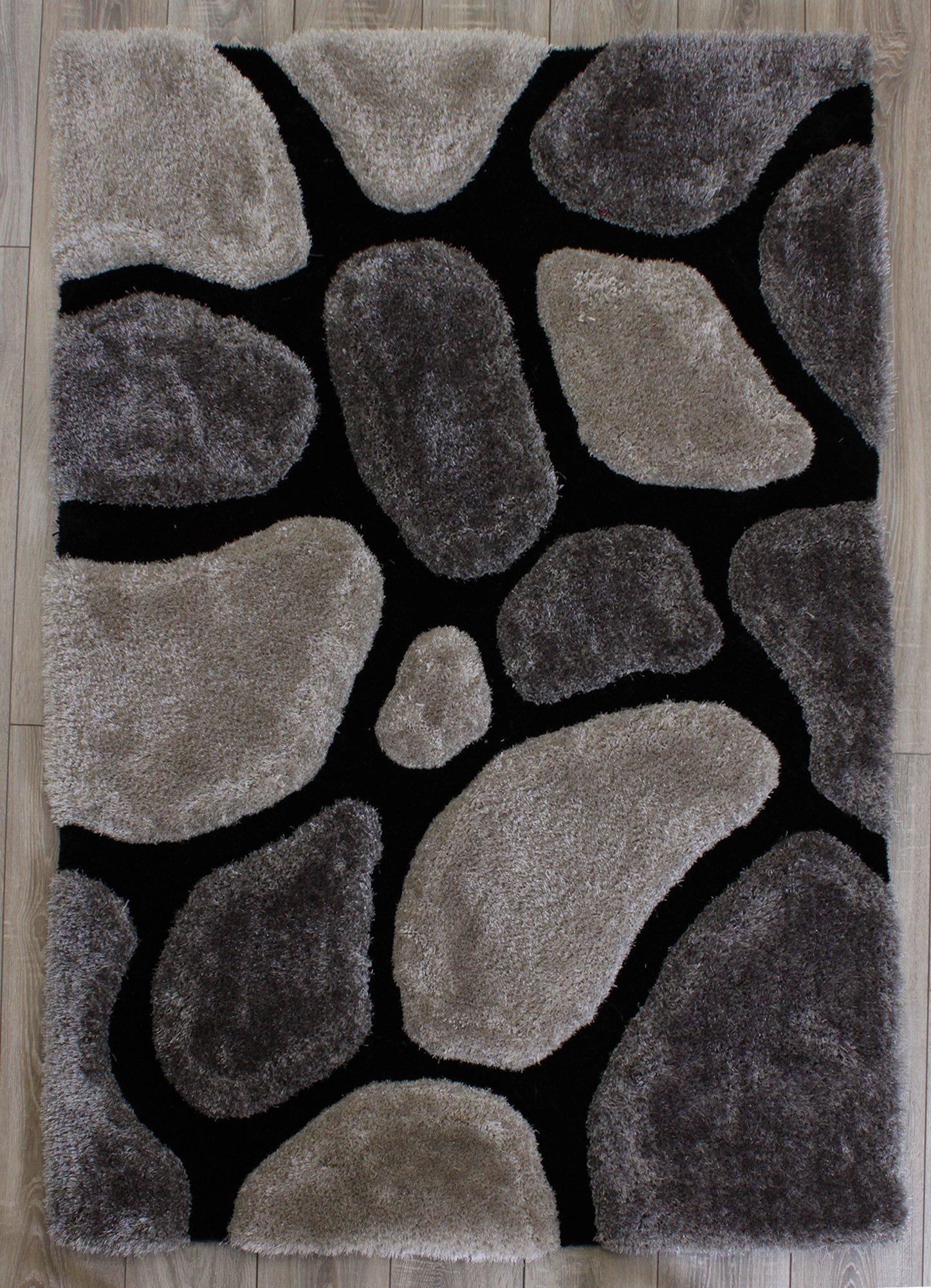 3D Stepping Stone Rug - 120x170cm - Black.