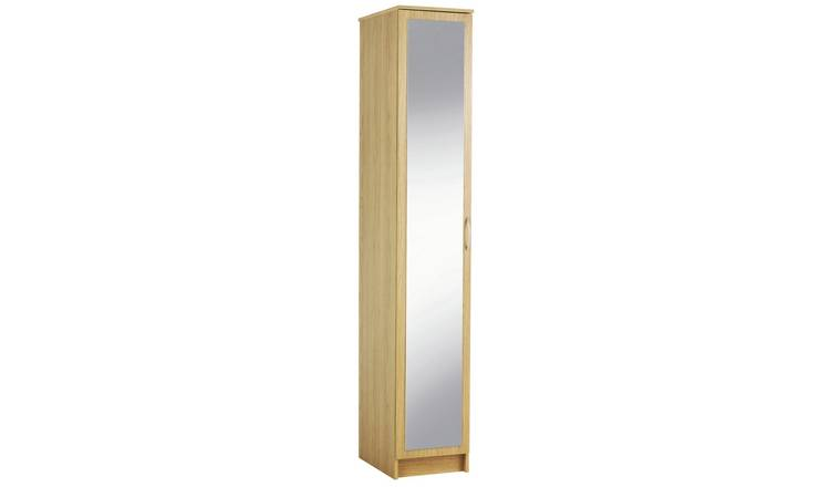 Argos Home Cheval Single Mirrored Wardrobe - Oak Effect