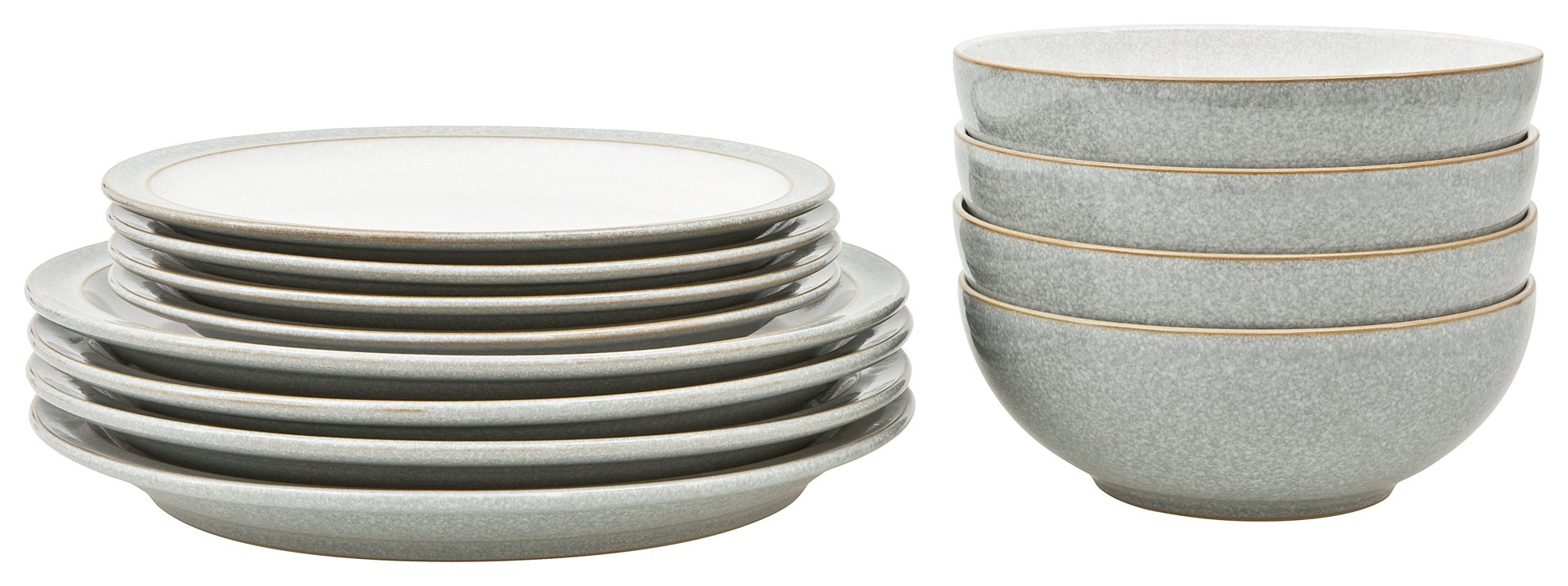 Denby Elements 12 Piece Ceramic Tableware - Light Grey