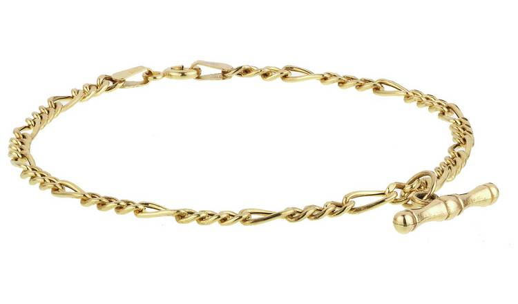 Revere 9ct Yellow Gold Figaro T-Bar Bracelet