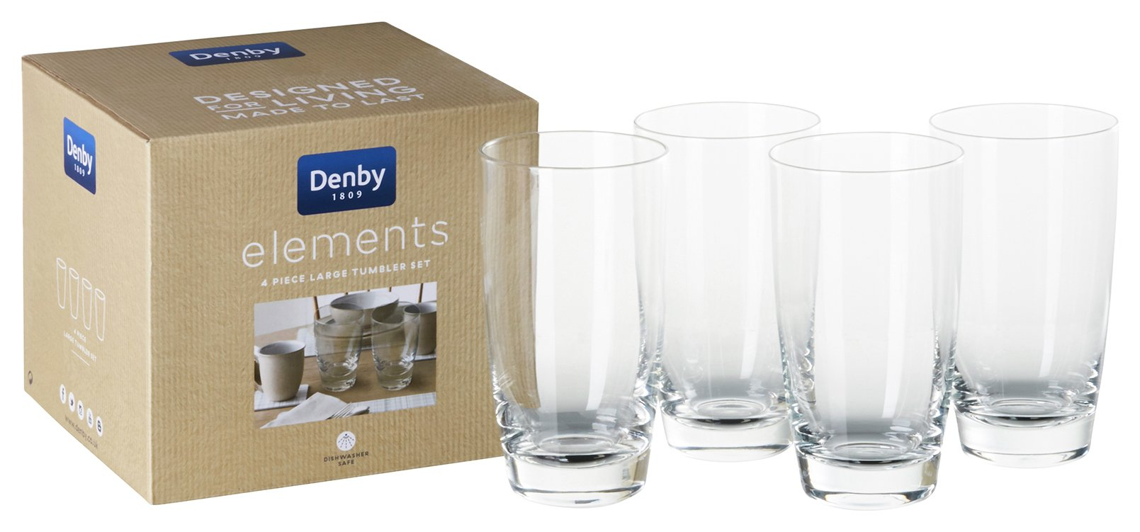 Image of Denby Elements Set of 4 Tumbler Glasses