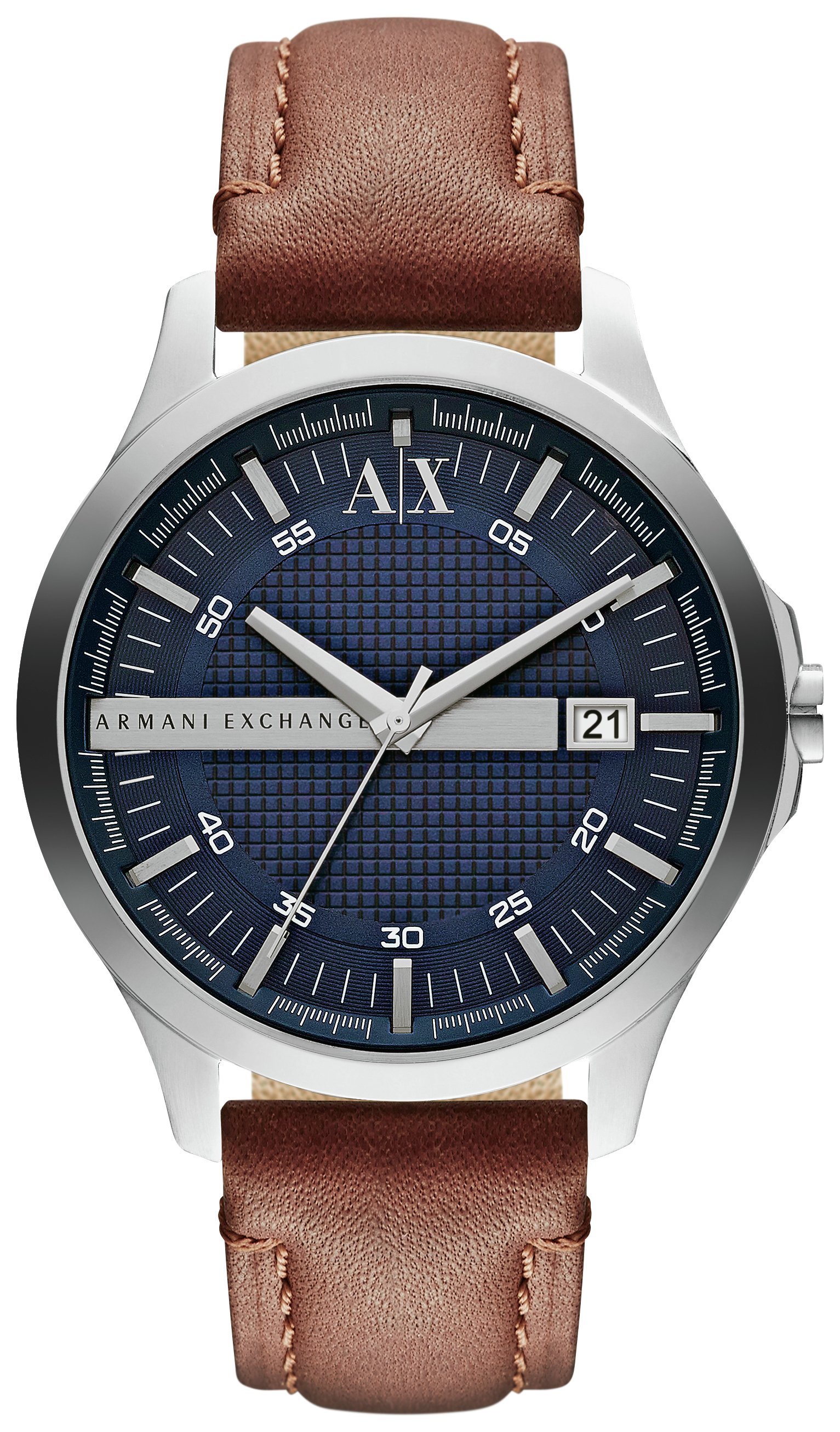 Image of Armani Exchange AX2133 - Mens Date Tan Leather Strap - Watch