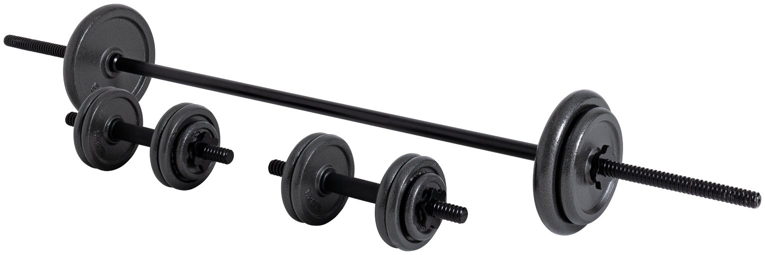 Opti Cast Iron Bar and Dumbbell Set - 35kg